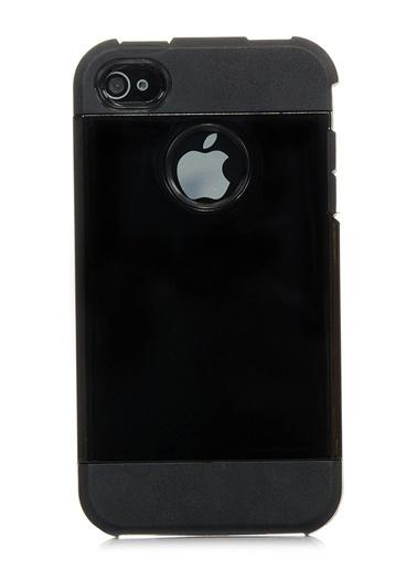 Microsonic Slim Fit Dual Layer Armor iPhone  4 & 4S Kılıf Siyah Renkli